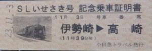 記念乗車券・記念乗車証明書